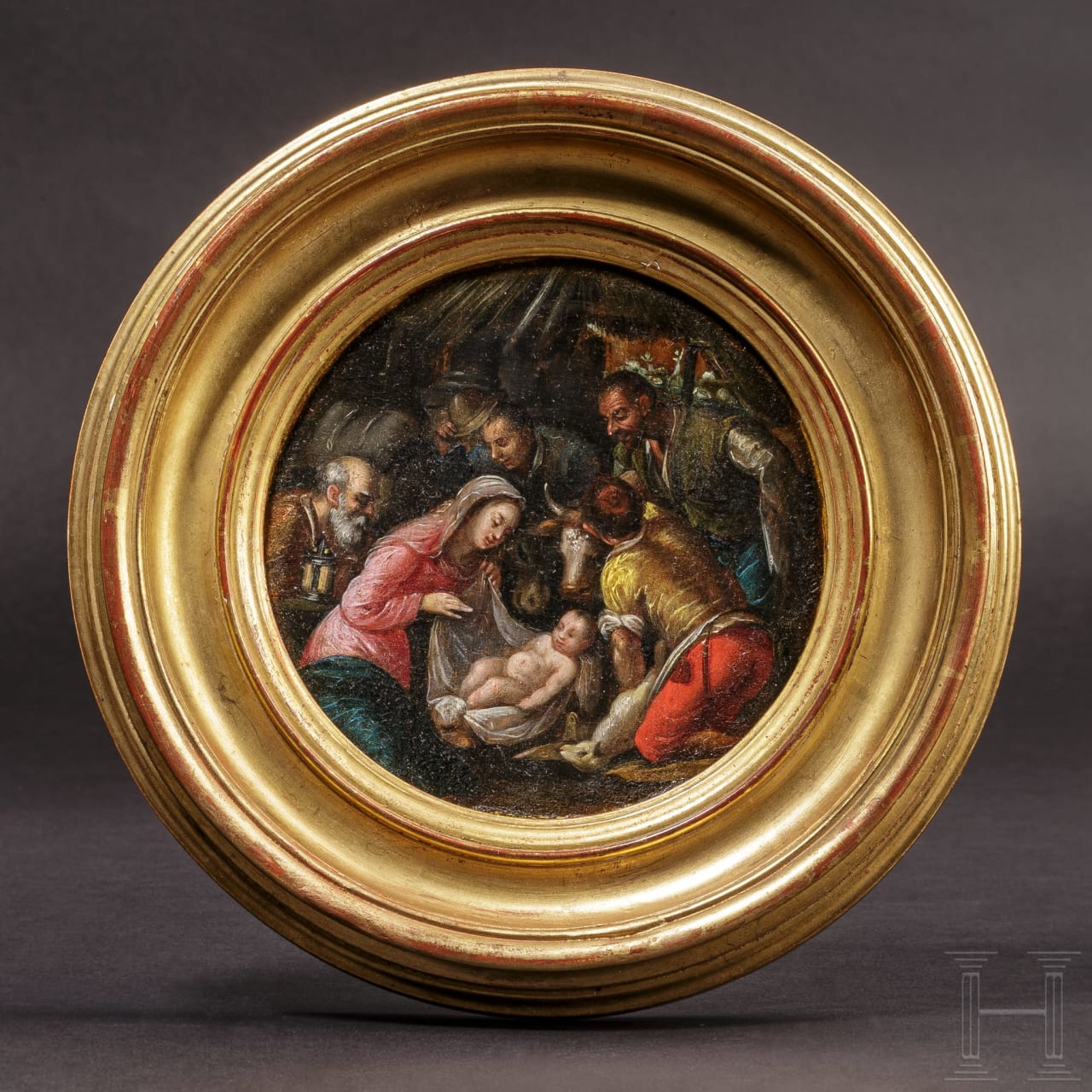 """A small tondo with """"The birth of Christ"""", Antwerp school, late 16th century"""