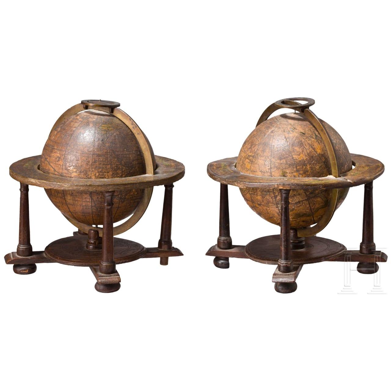 A pair of miniature globes, Johann Gabriel Doppelmayr, Nuremberg, dated 1736