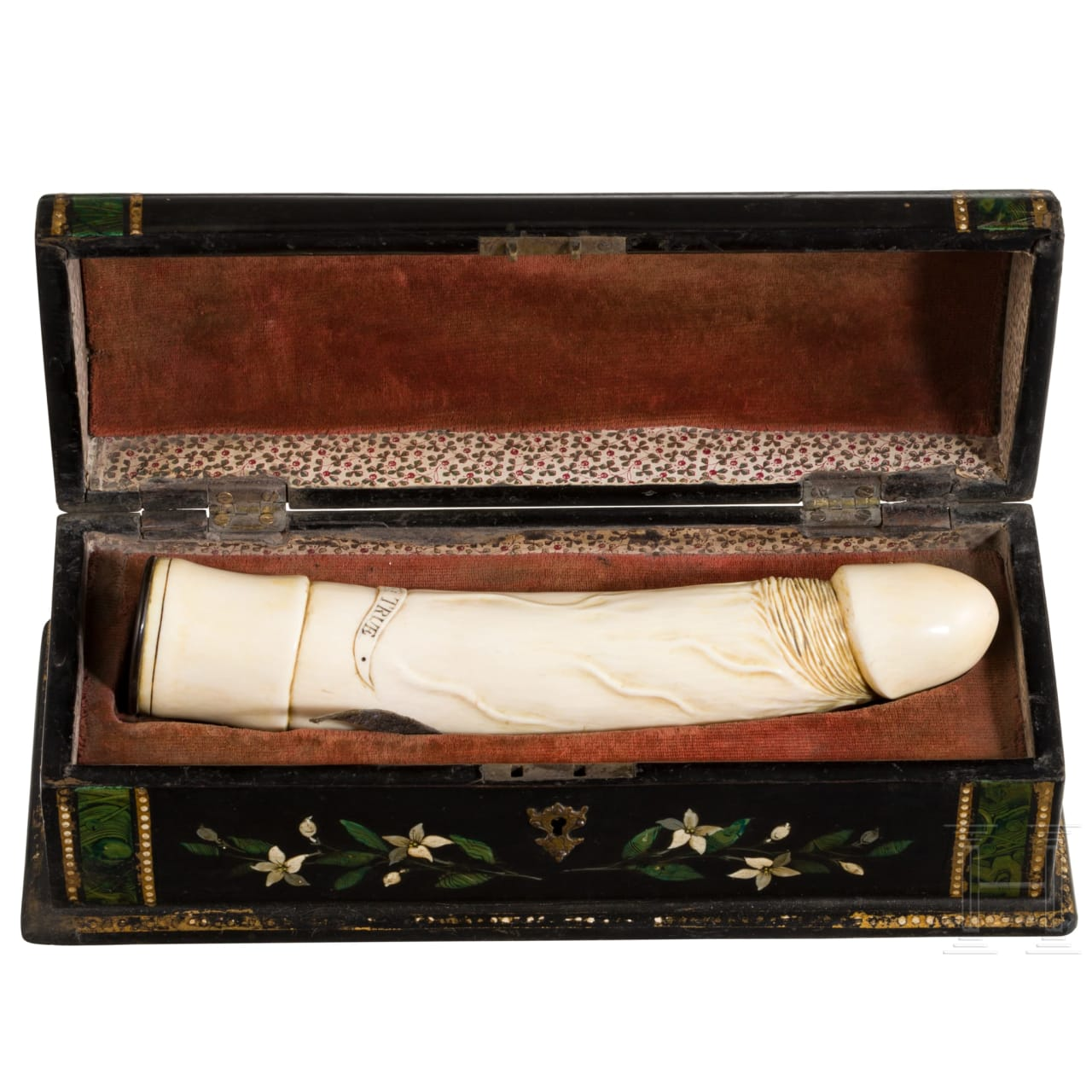 A finely carved English ivory phallus in a case, circa 1880