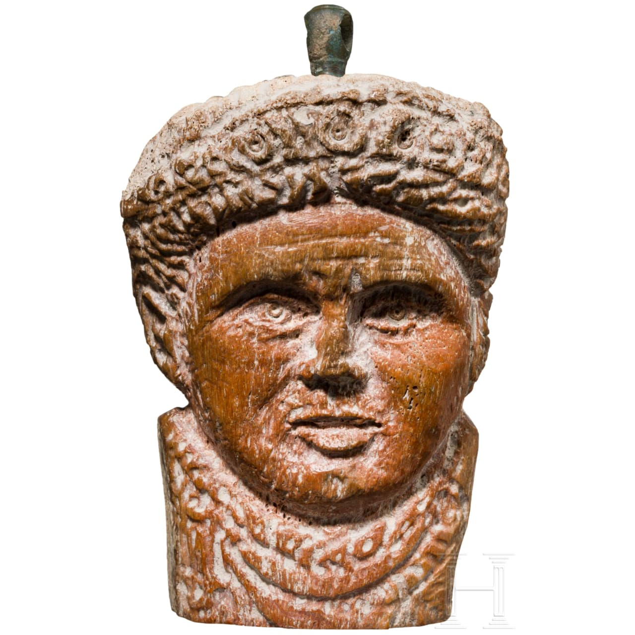 A rare Roman imperial portrait carved from bone, 4th century