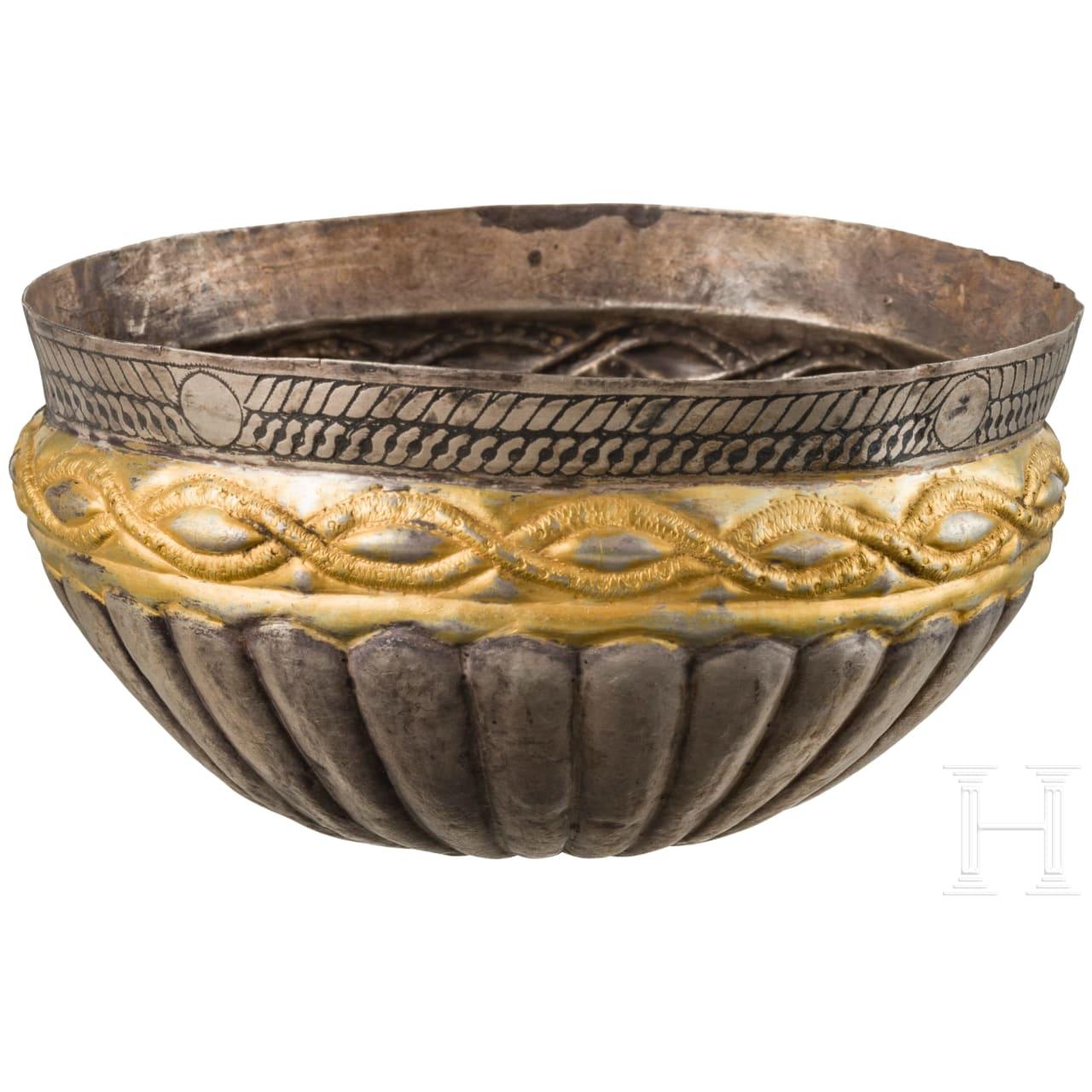 An East European silver Viking bowl, partially gilded, 11th - 12th century