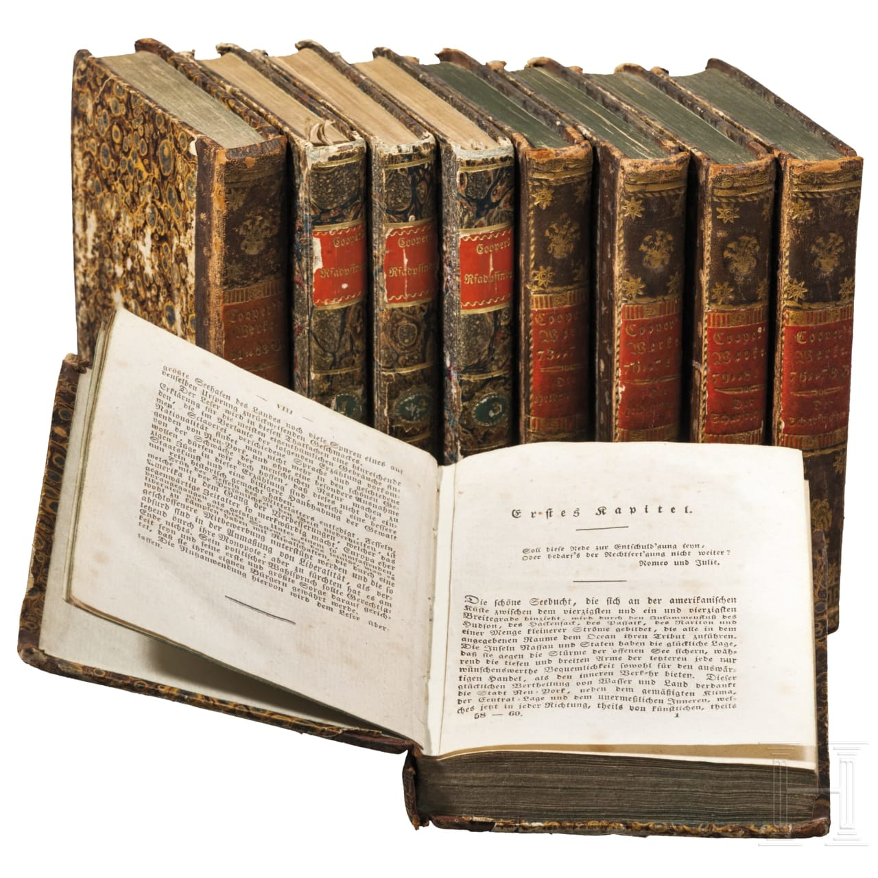Nine volumes from the work of James Fenimore Cooper