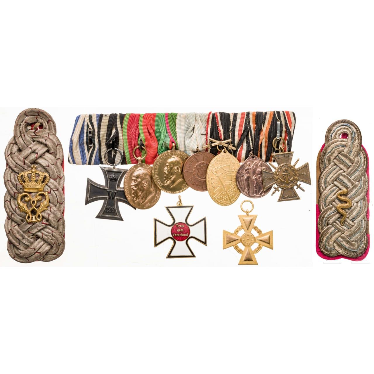 Achtteilige Ordensschnalle eines bayerischen Offiziers