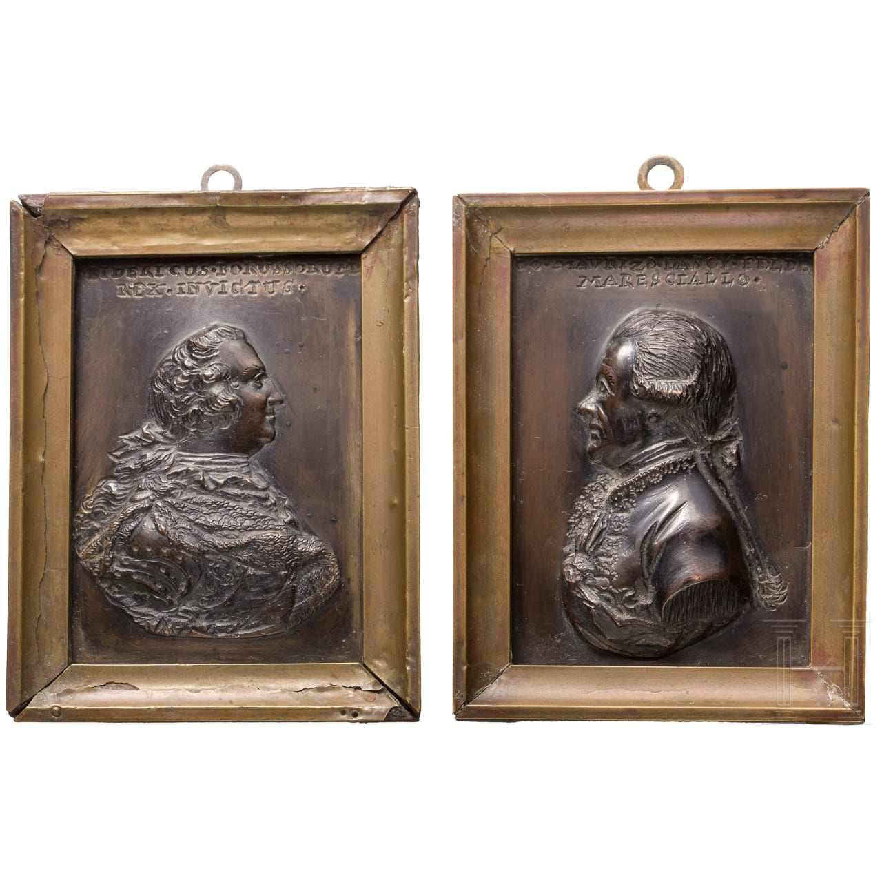 A pair of bronze plaques showing Frederic II of Prussia and Moritz Count of Lacy, ca. 1770