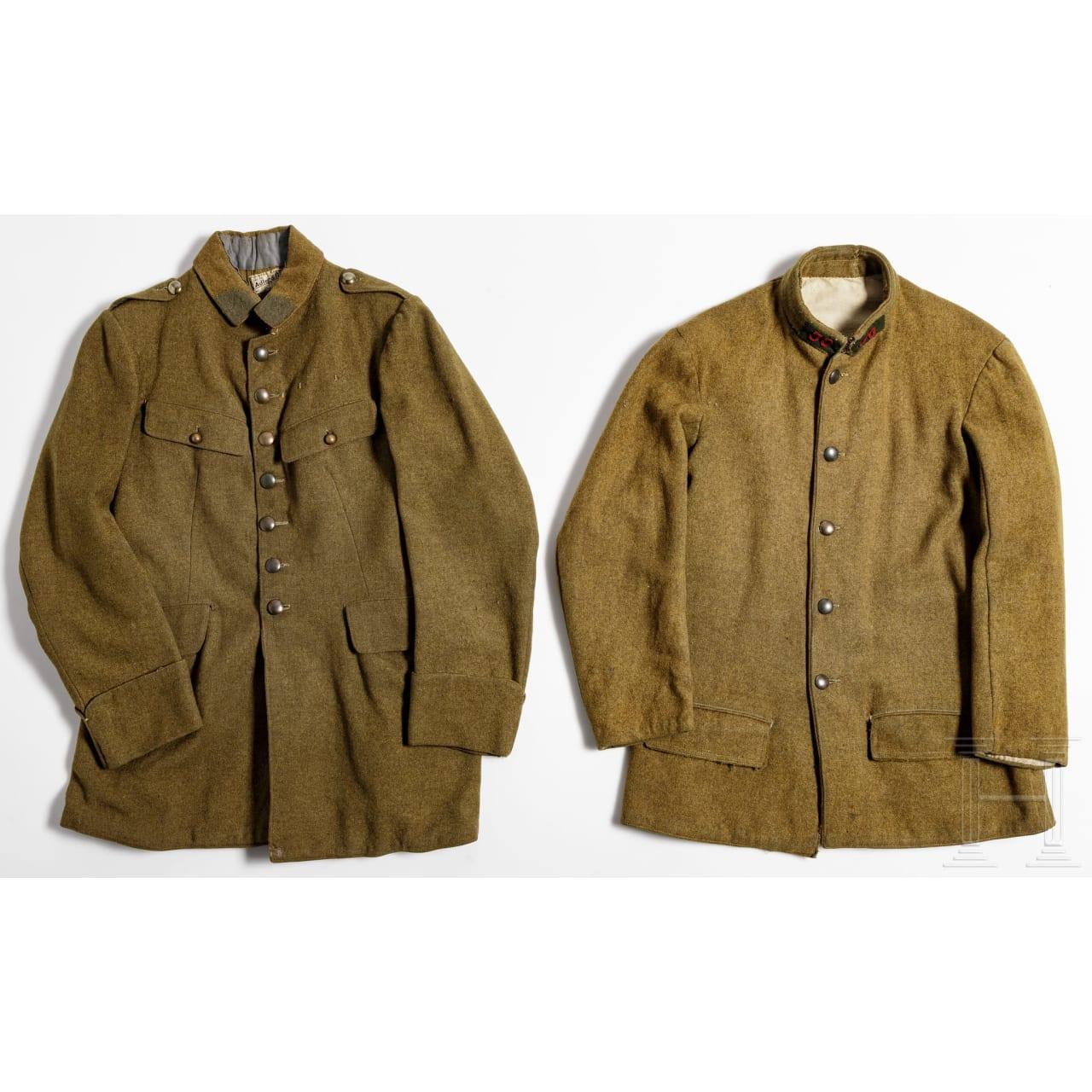 Zwei Röcke für Mannschaften der Kolonialtruppen im 1. Weltkrieg