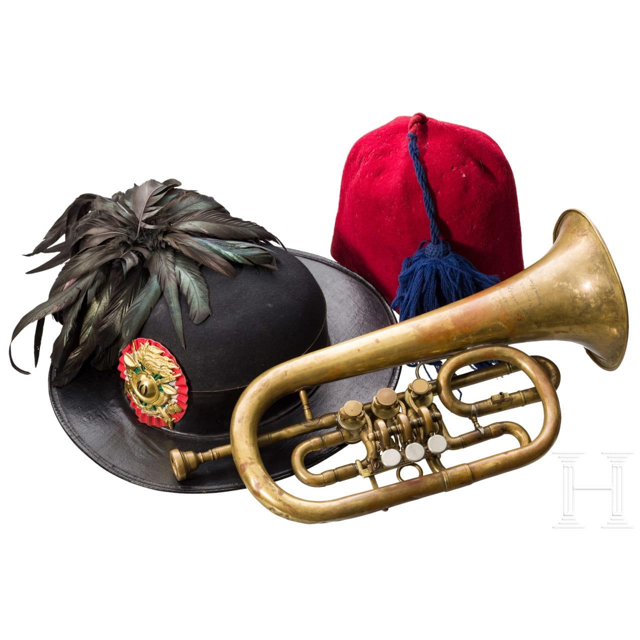 A hat for Bersaglieri, a trumpet, a fez, 1st half of the 20th century
