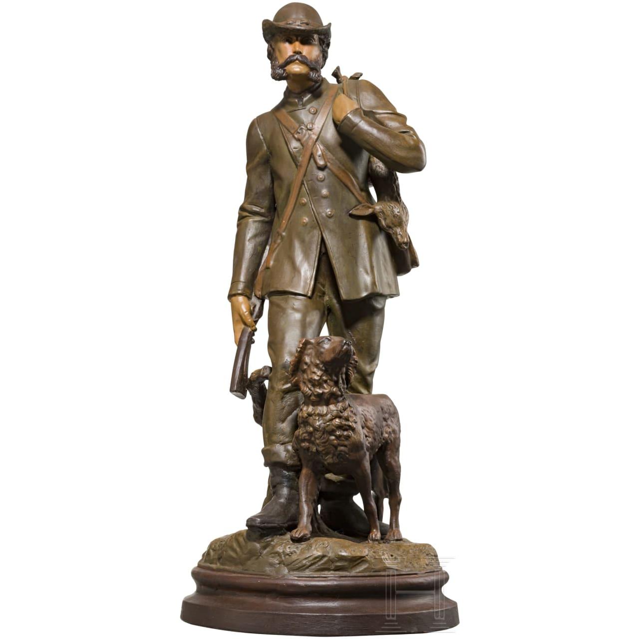 Kaiser Franz Joseph I. von Österreich – farbig gefasste Keramikfigur des Kaisers als Jäger
