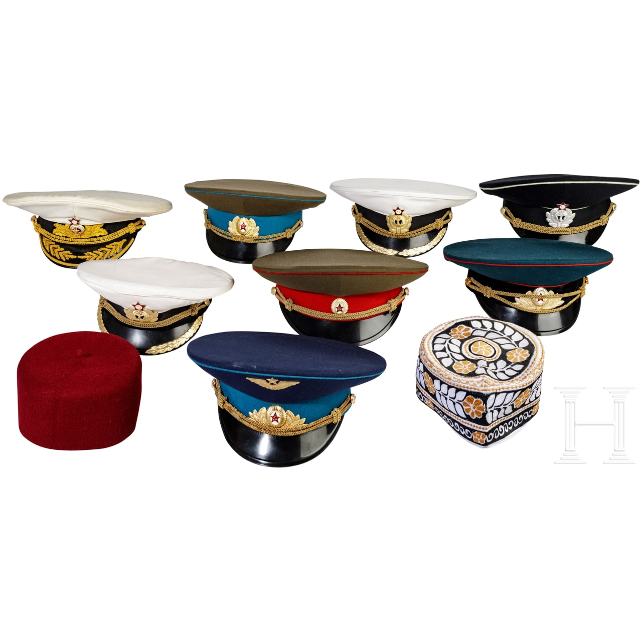 Eight Soviet visor caps, mostly for officers