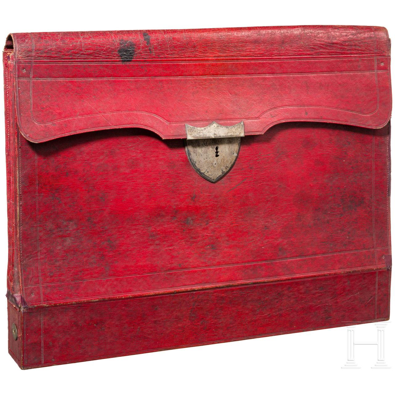 Dokumententasche aus rotem Leder, mglw. Russland, 1. Drittel 19. Jhdt.