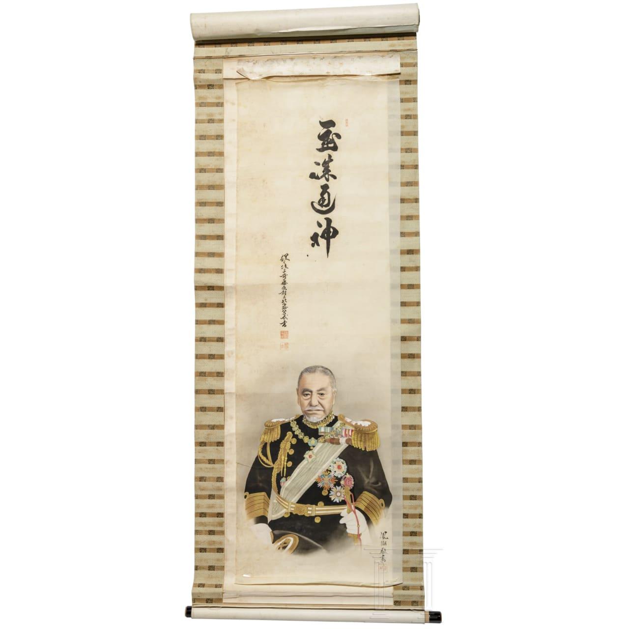 Japan - Rollbild des Admirals Togo, Meiji-Periode