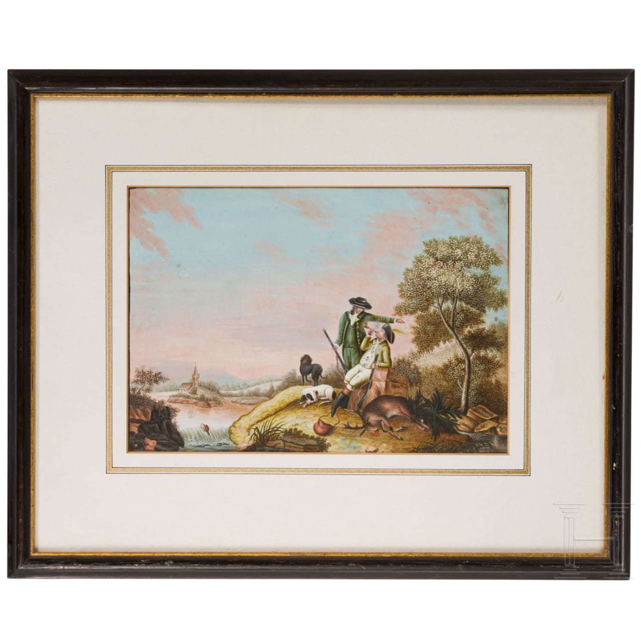 A fine South German gouache with a hunting motif, circa 1800