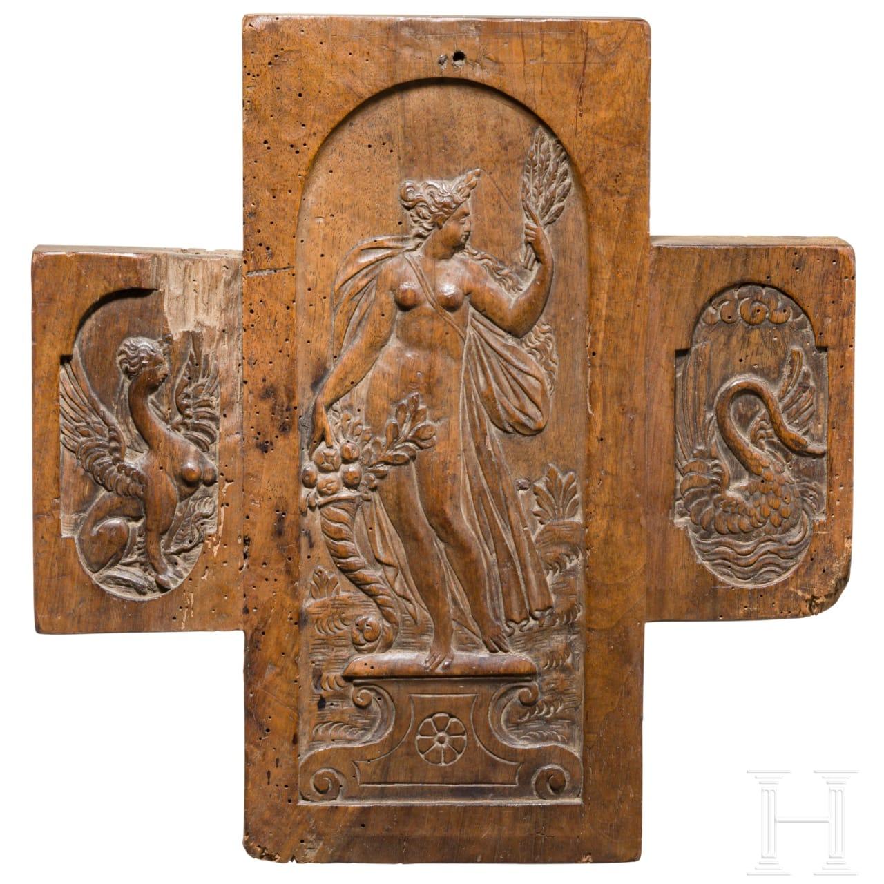 Geschnitztes Möbelpaneel mit Darstellung der Göttin Ceres, norddeutsch oder flämisch, um 1600