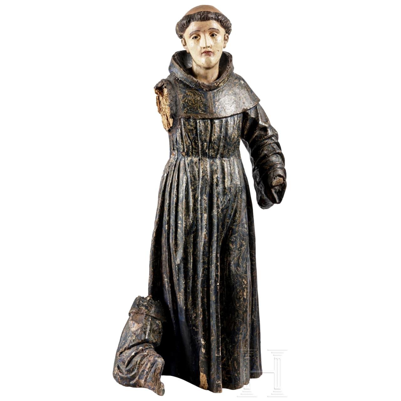 Holzskulptur eines Heiligen, Italien, 18. Jhdt.