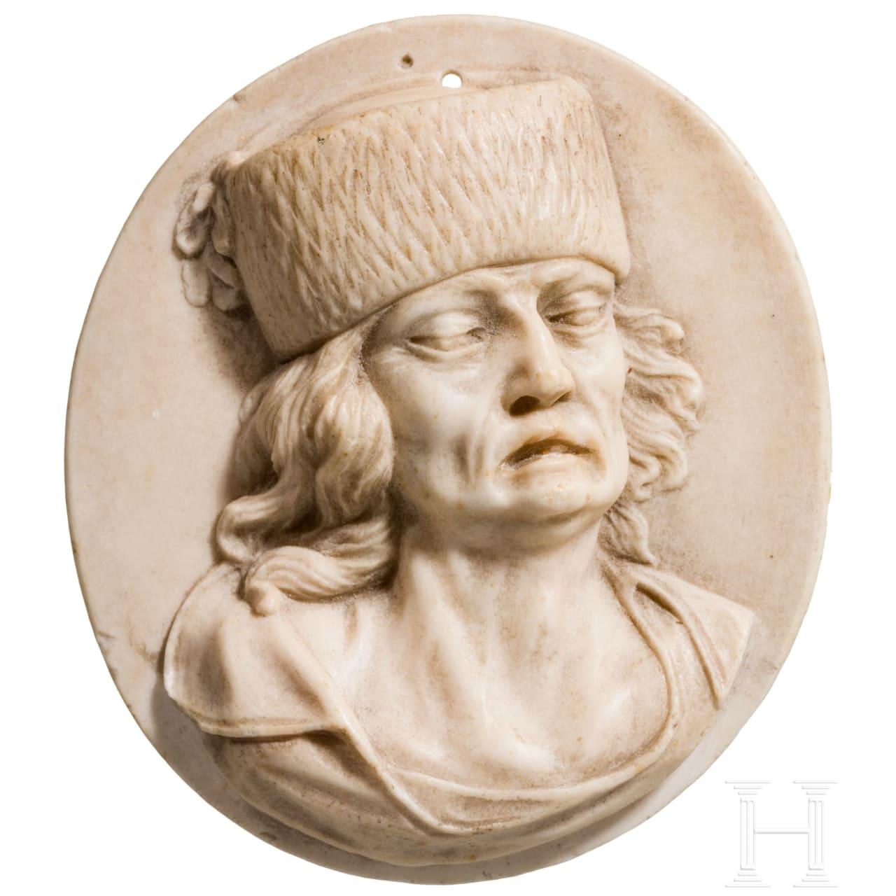 Relief mit Portrait des Jean-Paul Marat (*1743 Boudry; †1793 Paris) im klassizistischen Stil