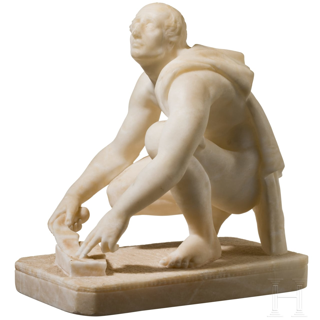 "An Italian alabaster sculpture of ""Arrotino"" as a blade grinder, 19th century"