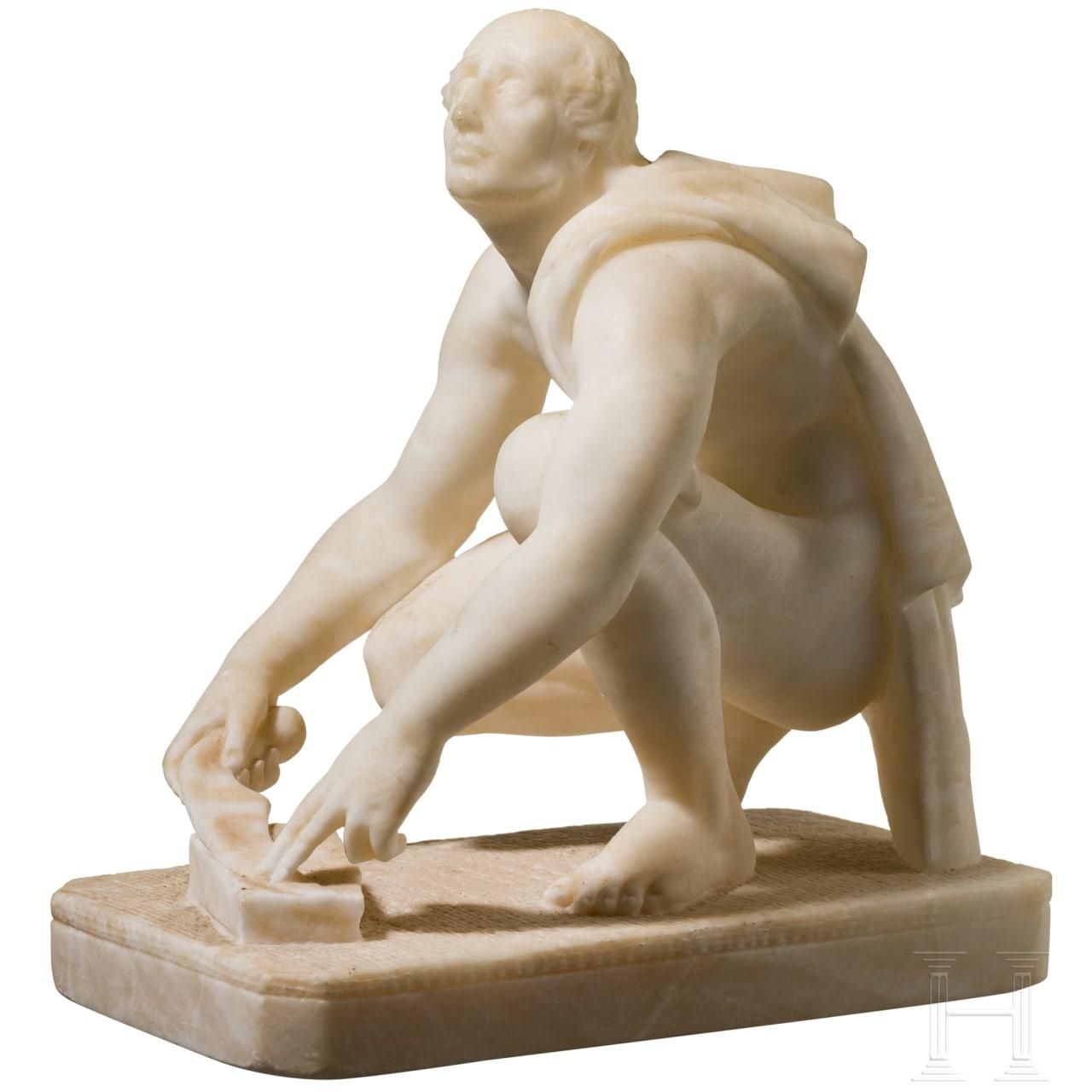 "Alabaster-Skulptur des ""Arrotino"" als Klingenschleifer, Italien, 19. Jhdt."