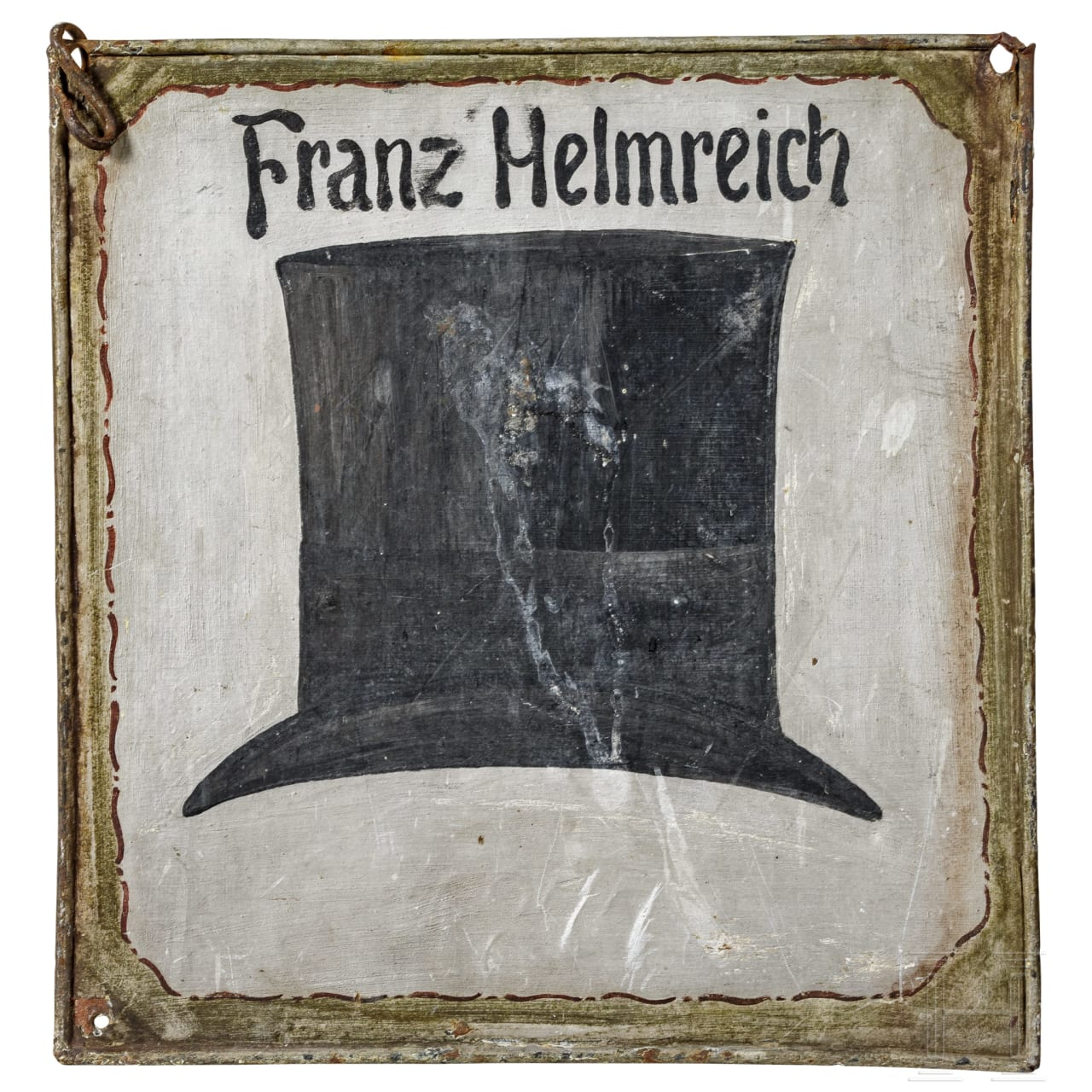 Ladenschild eines Hutmachers, deutsch, datiert 1877