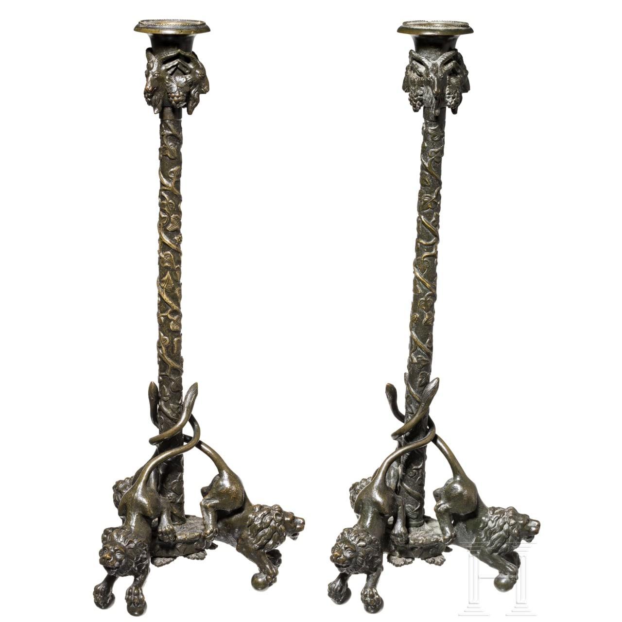 Feines Paar Bronze-Kandelaber im Renaissance-Stil, Italien, 19. Jhdt.