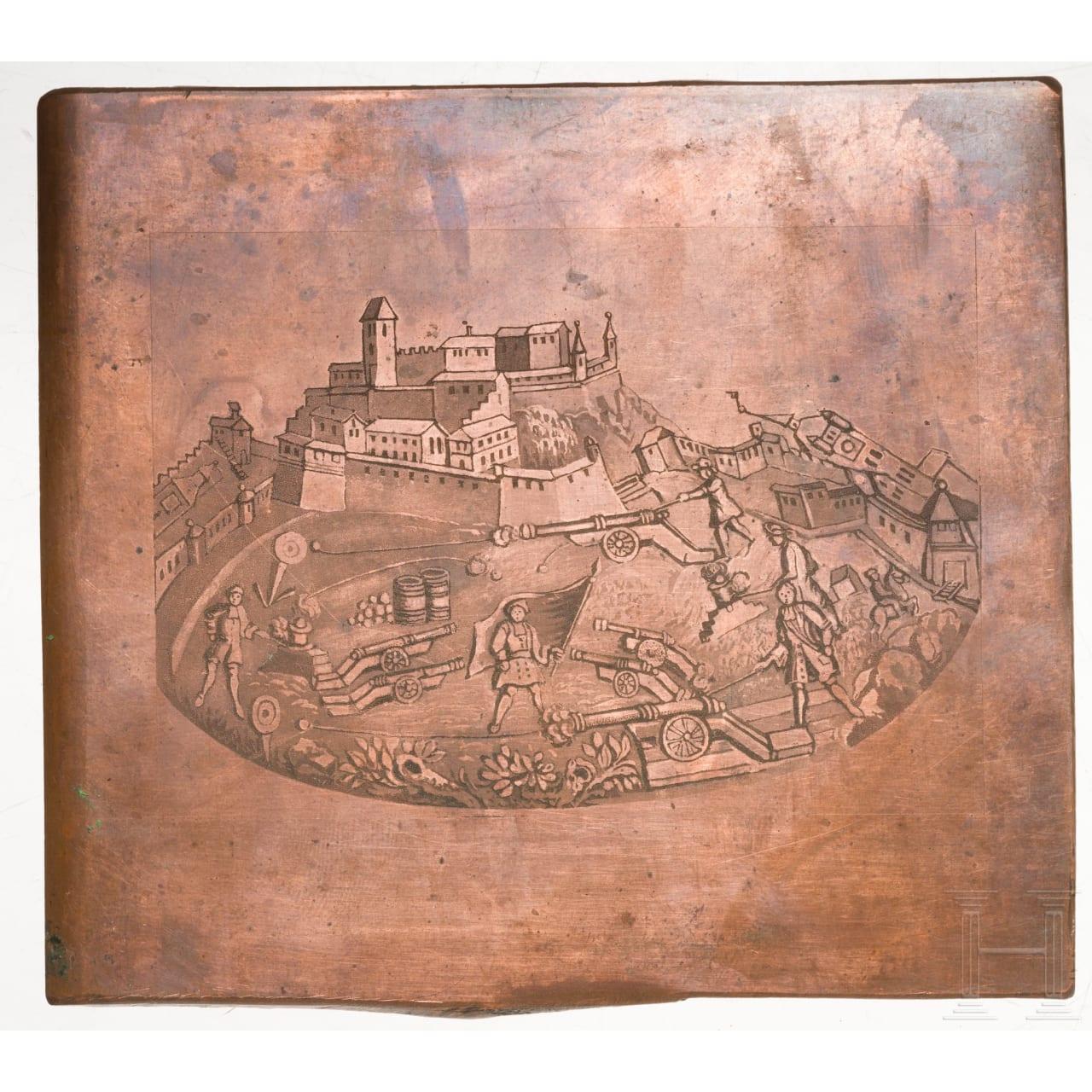 Kupferne Druckplatte, deutsch, um 1700