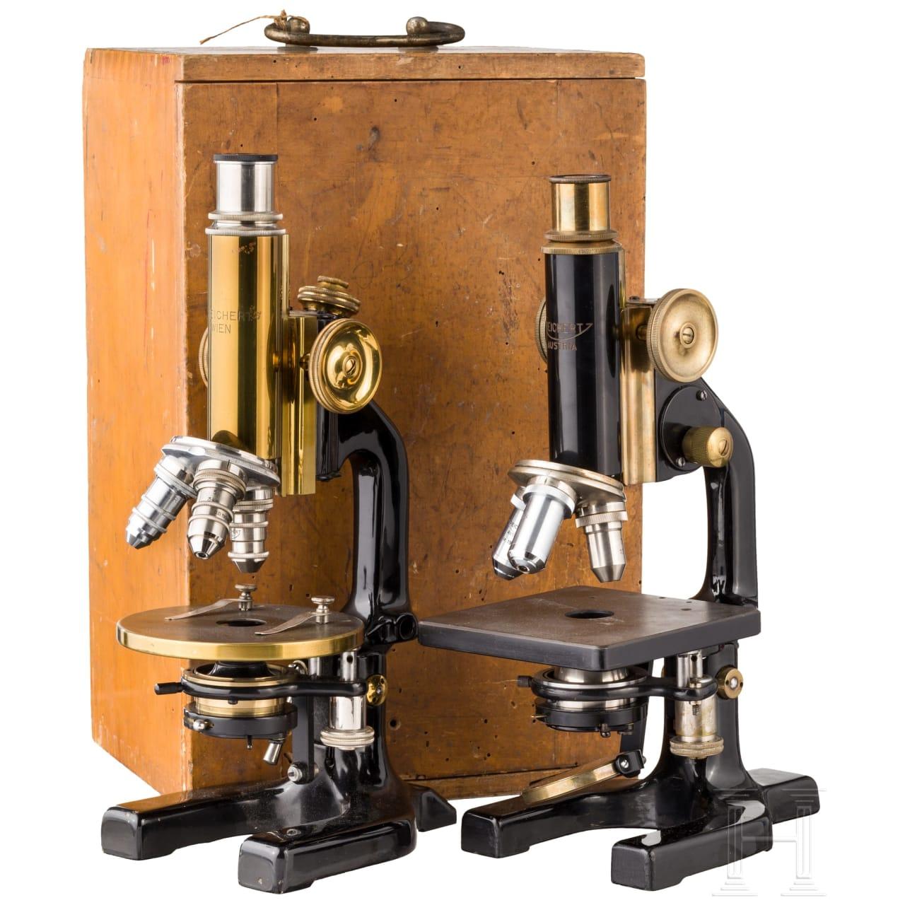 Zwei Mikroskope, Reichert, Wien, 20. Jhdt.