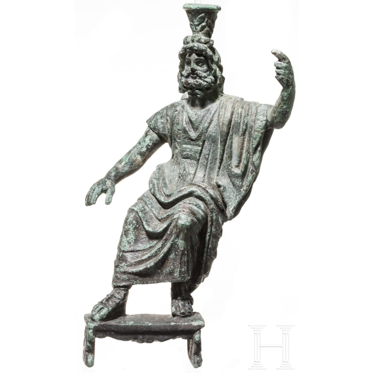 Bronzestatuette des thronenden Serapis, römisch, 2. - 3. Jhdt.