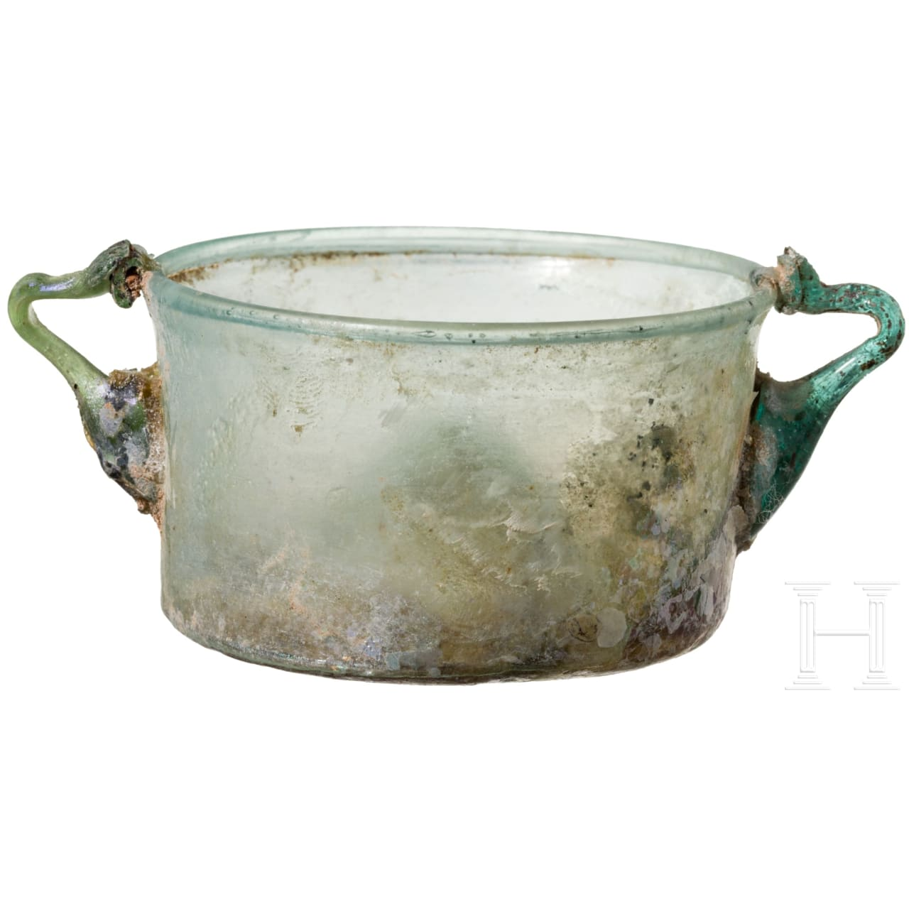 Feiner zweihenkliger Glasbecher, römisch, 2. - 3. Jhdt.