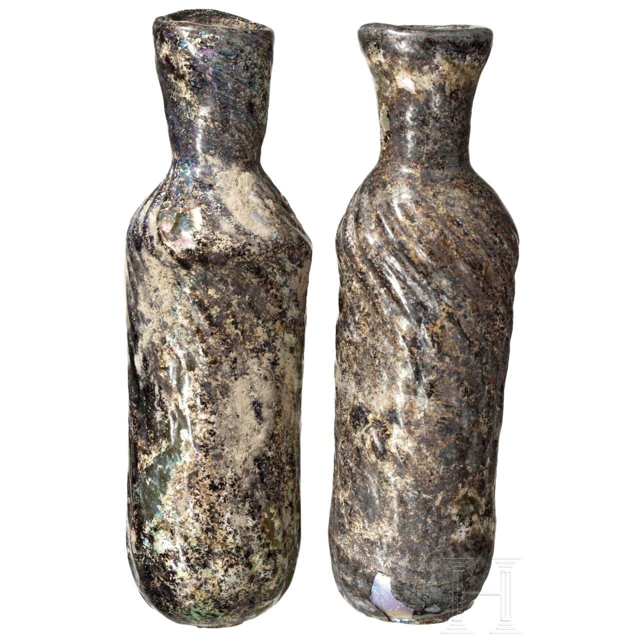 Zwei Rippenflaschen, römisch, östlicher Mittelmeerraum, 2. - 4. Jhdt. n. Chr.