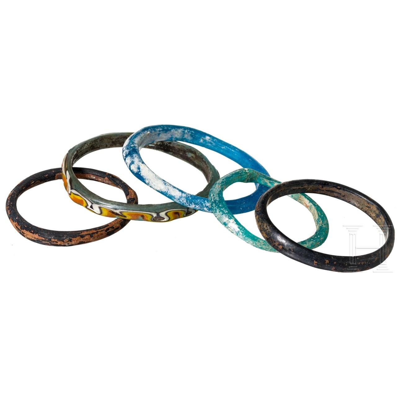 Five Byzantine glass bracelets, 5th - 14 th century