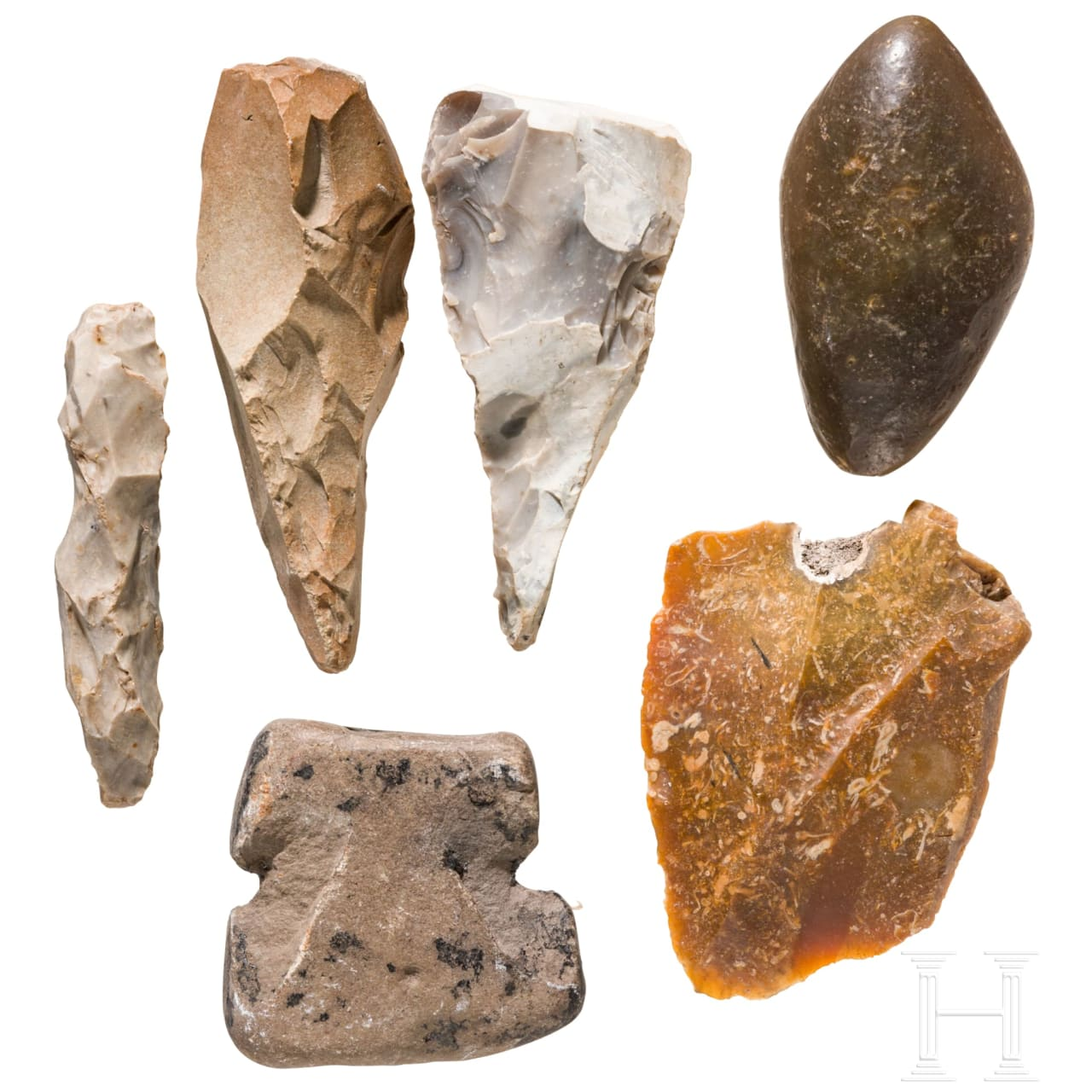 Six Central European Paleolithic stone tools