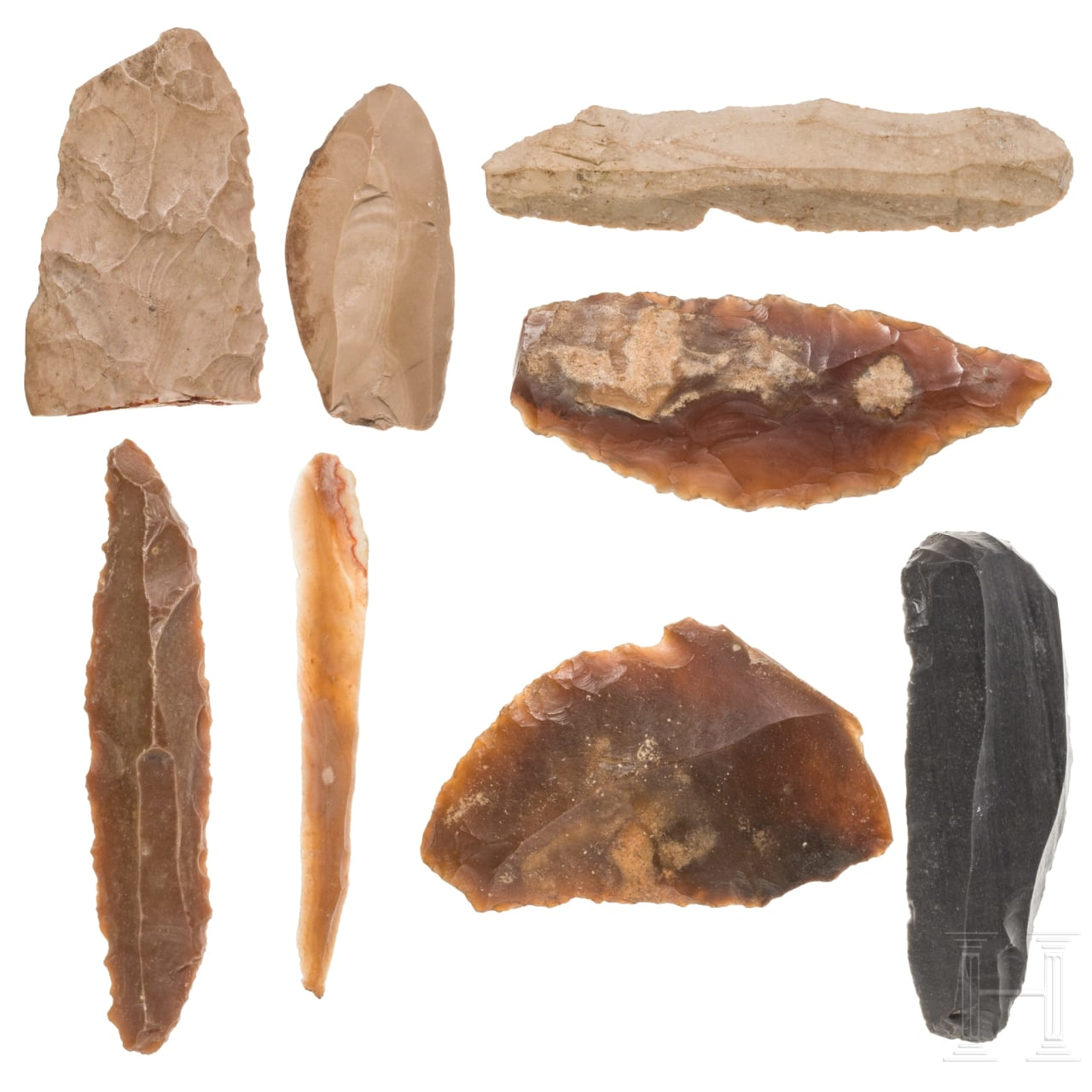 Eight prehistoric flint tools from Persia