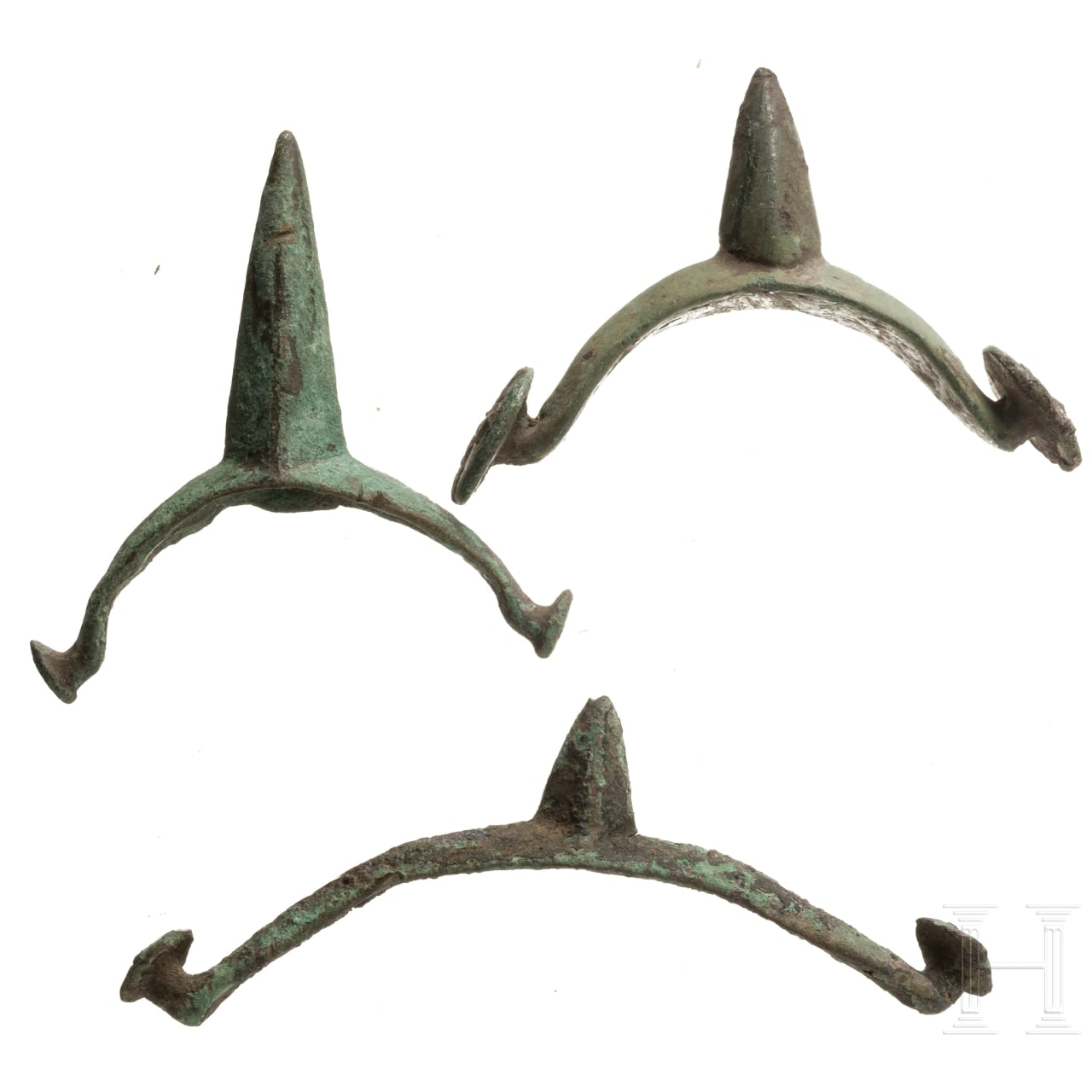 Drei spätkeltische bronzene Sporen, 1. Jhdt. v. Chr.