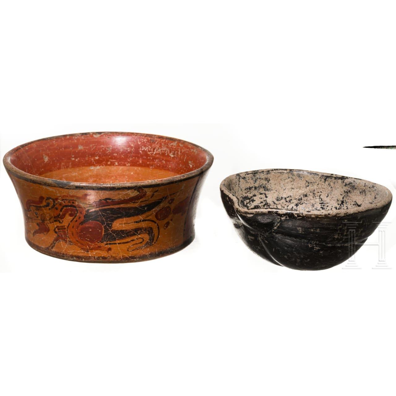 Two Maya bowls, Guatemala, late classical period, 600 - 900 A.D.