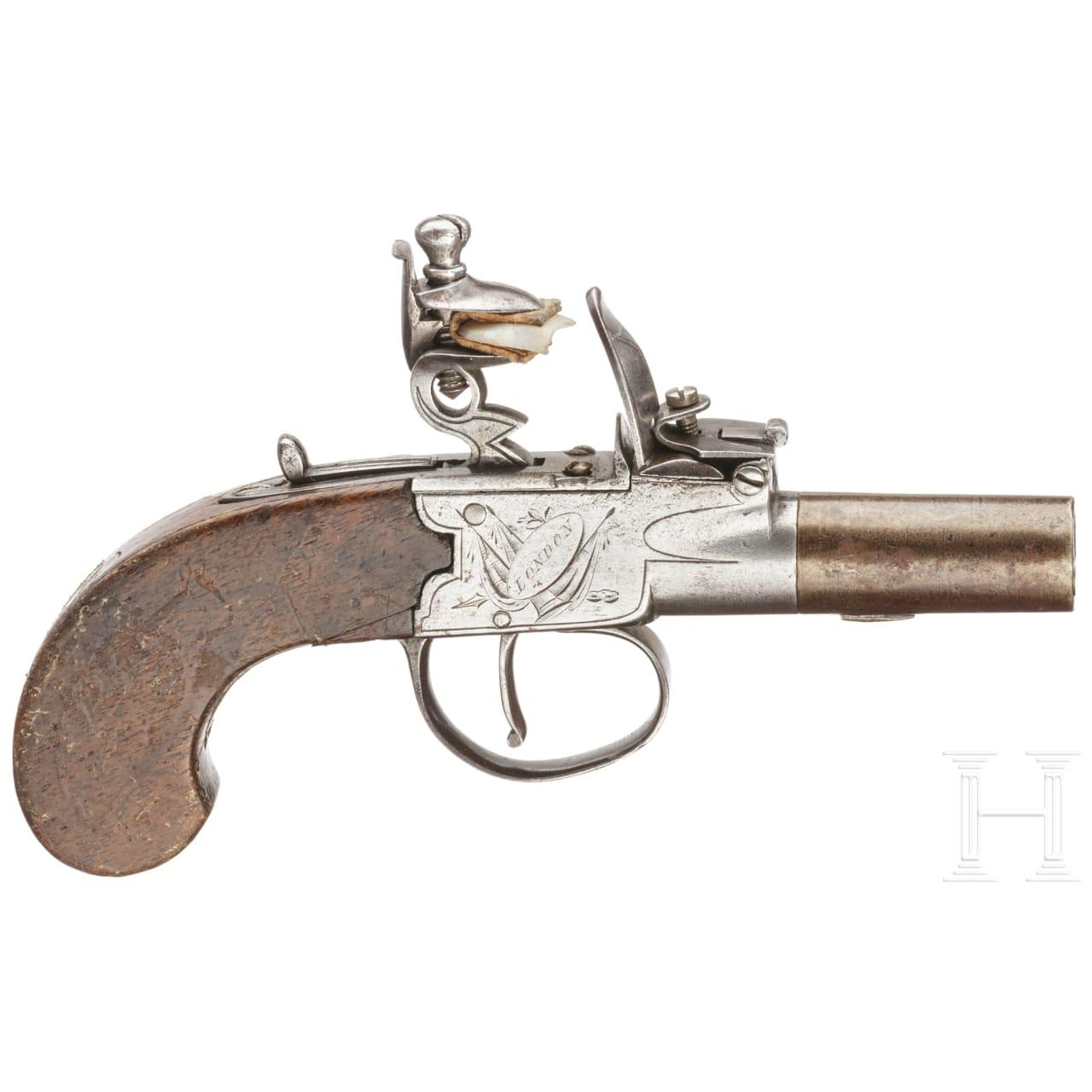 A flintlock pocket pistol by Spencer in London, circa 1800