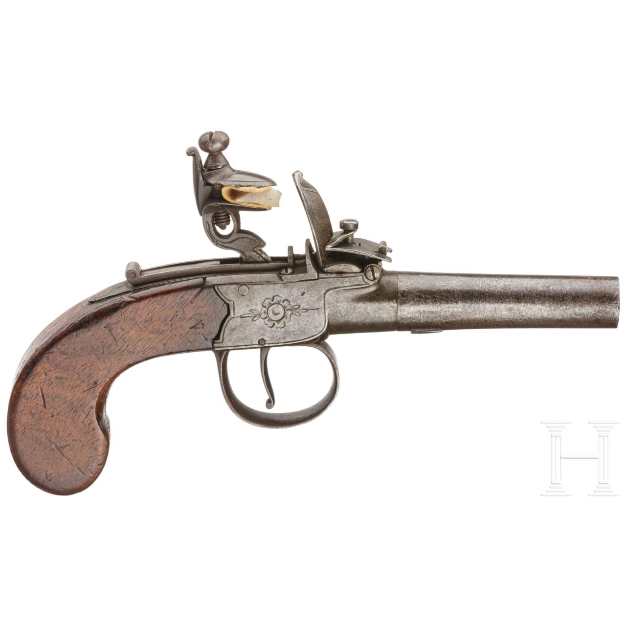A flintlock pocket pistol by Rogers, England, circa 1800