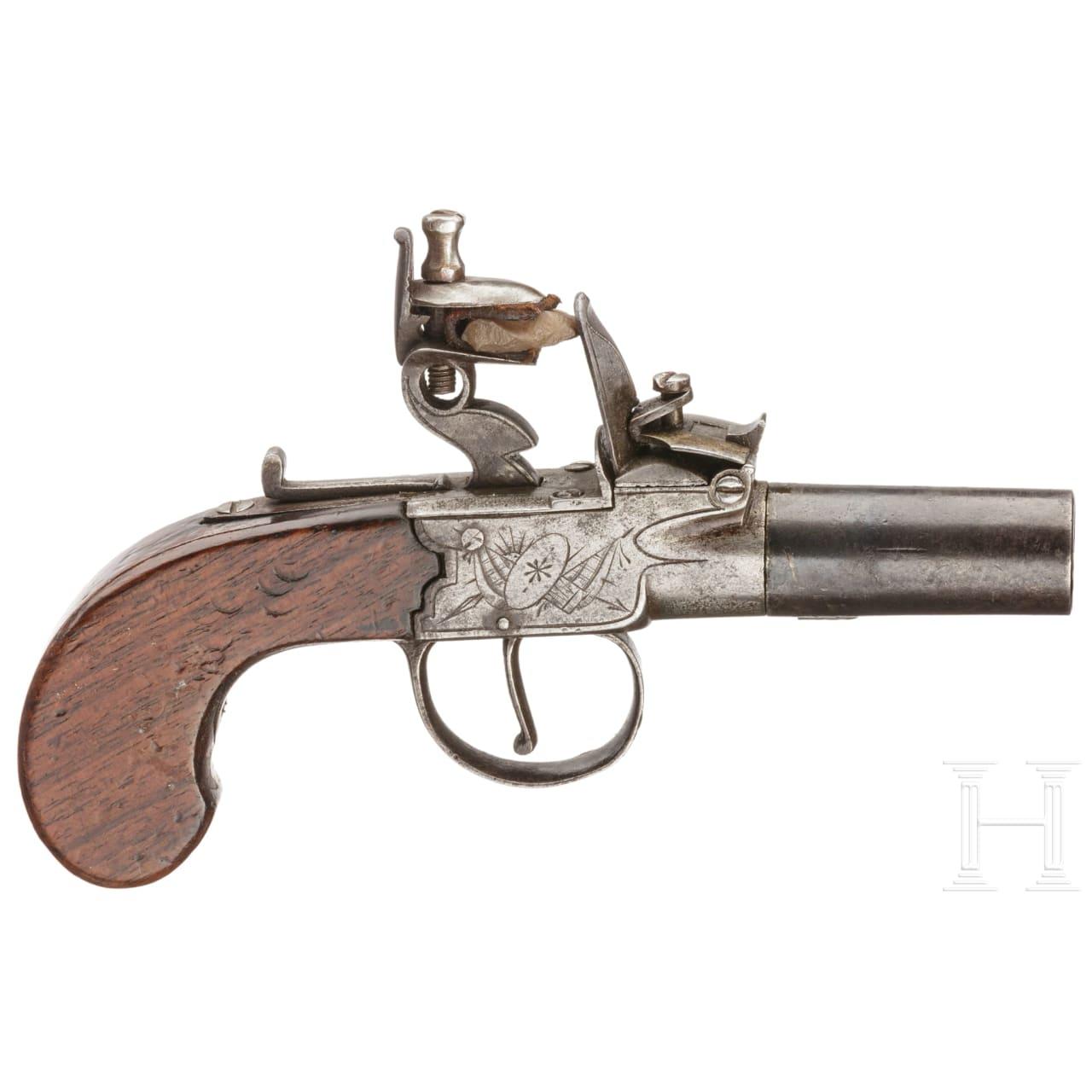 A flintlock pocket pistol by S. Wallis, England, circa 1800