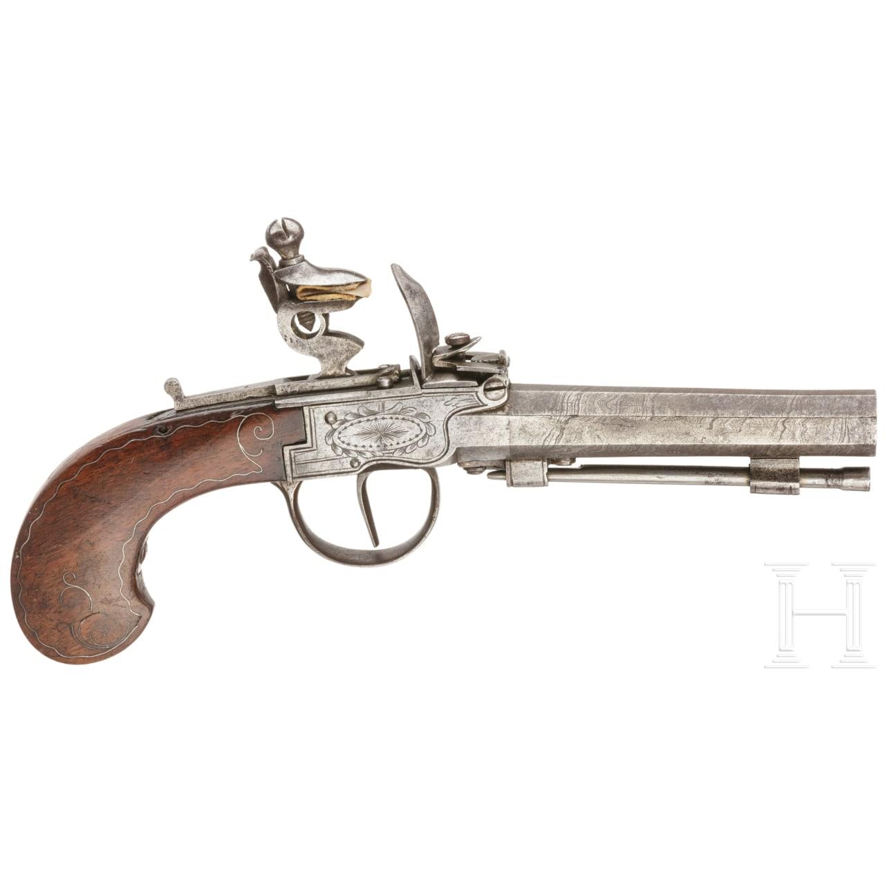 A flintlock pocket pistol, Great Britain, circa 1800