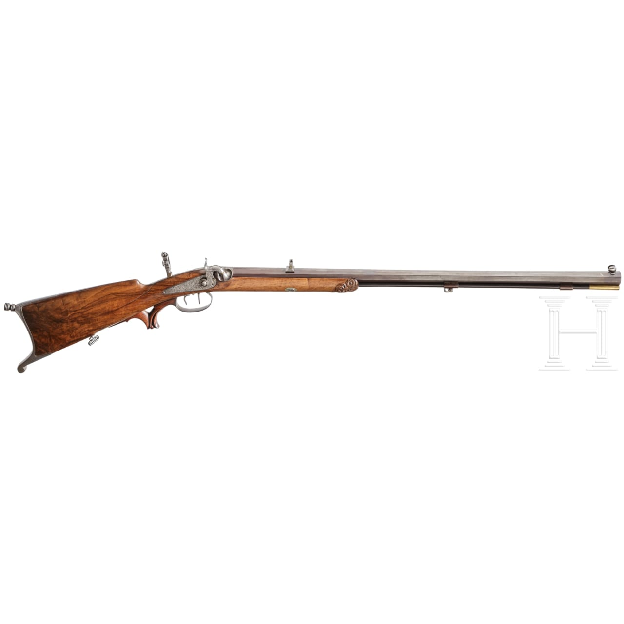 A percussion target rifle by L.H. Damm in Eberfeld, Germany, circa 1840