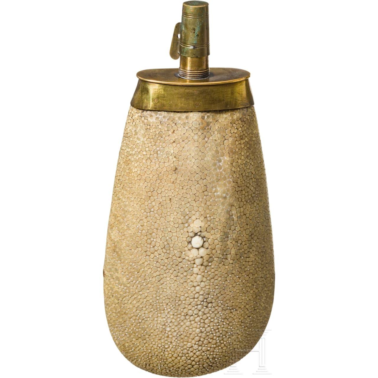 A rayskin covered powder flask, France, 18th century