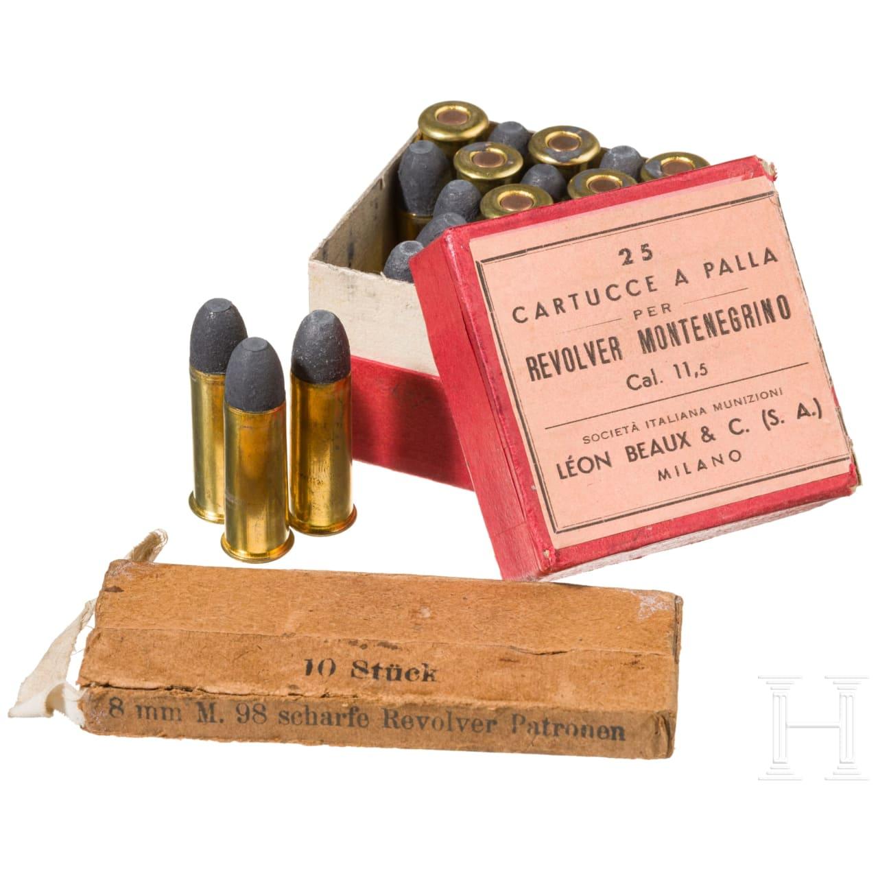 Zwei Schachtel Patronen zum Gasser Revolver M1870