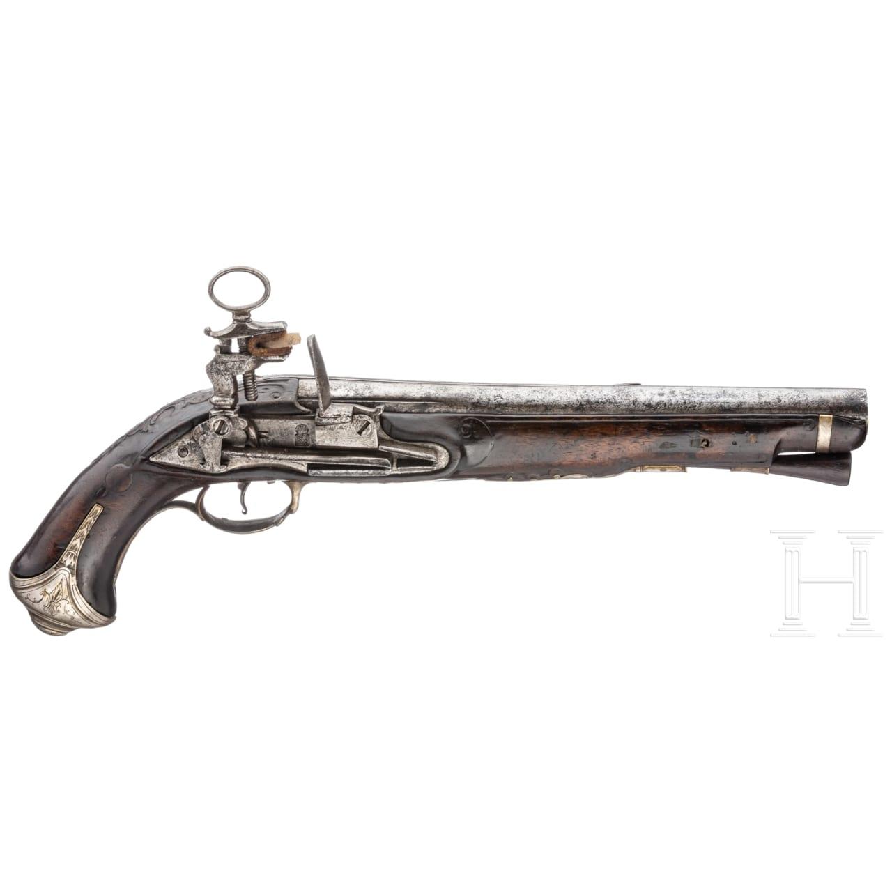 A cavalry officer's flintlock pistol by Esteva in Barcelona, circa 1760