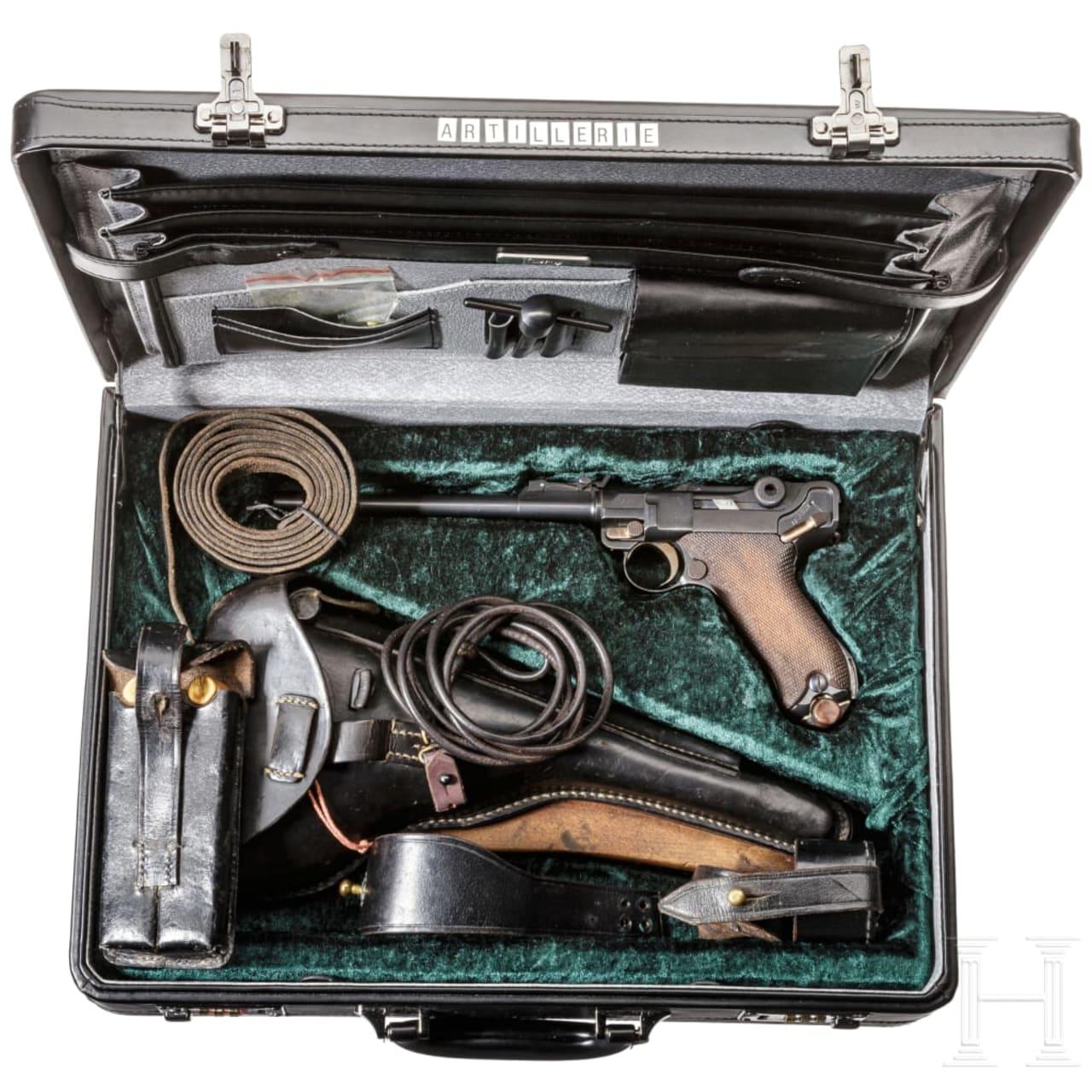 Lange Pistole 08, DWM 1918, mit Schulterstück und Tasche, im Koffer