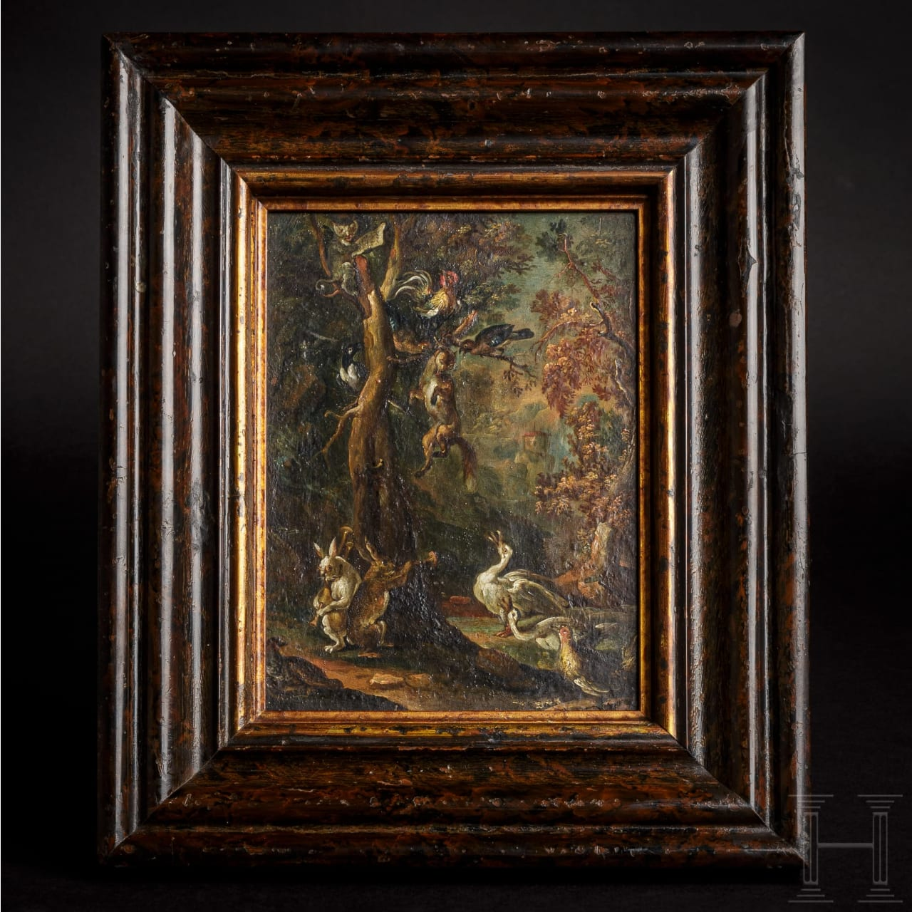 """A Dutch painting """"Animals Executing the Fox"""", 1st half of the 17th century"""