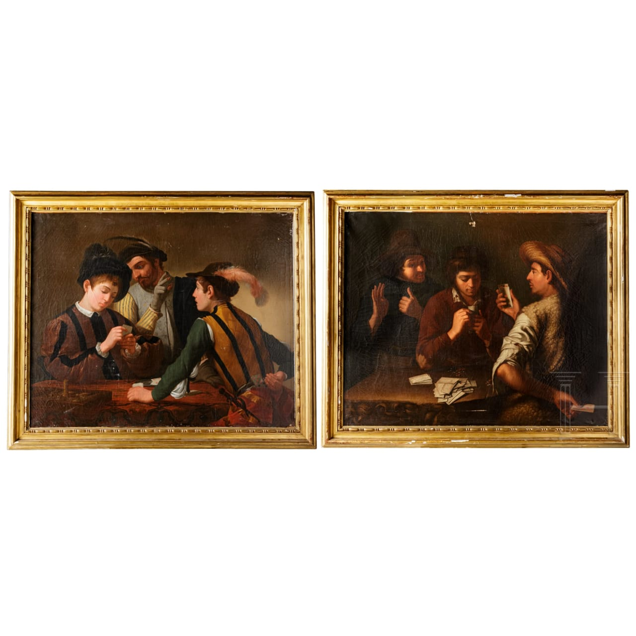 A pair of Italian Old Master paintings – The Card Sharpers, 17th century