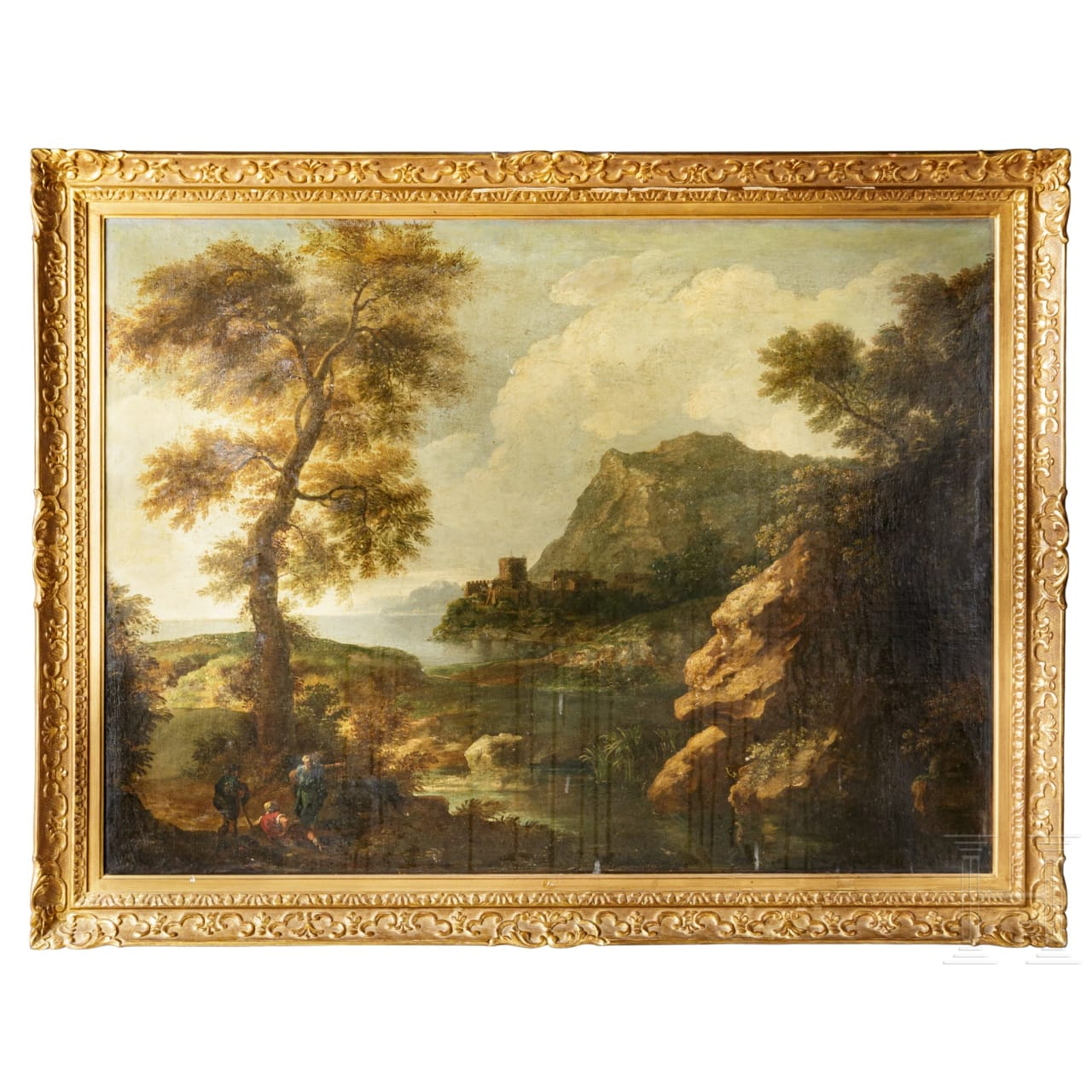 An Italo-Flemish Old Master – A landscape with figures, 17th century