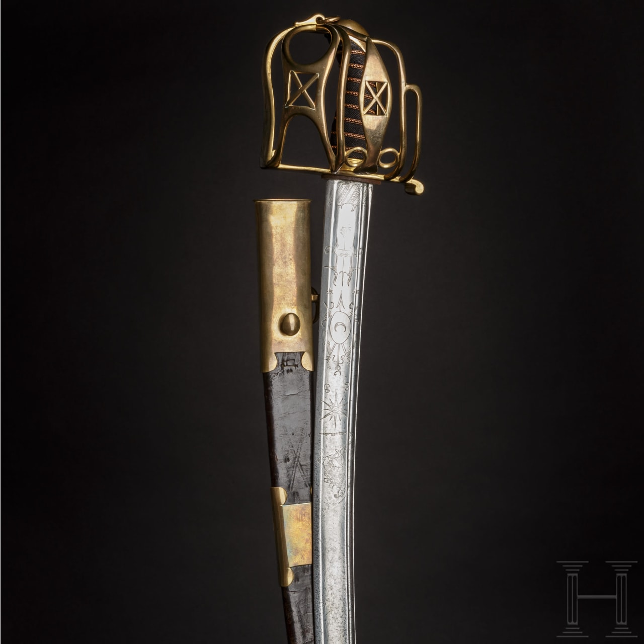 An officer's cavalry sabre with Scottish basket hilt, circa 1810/20
