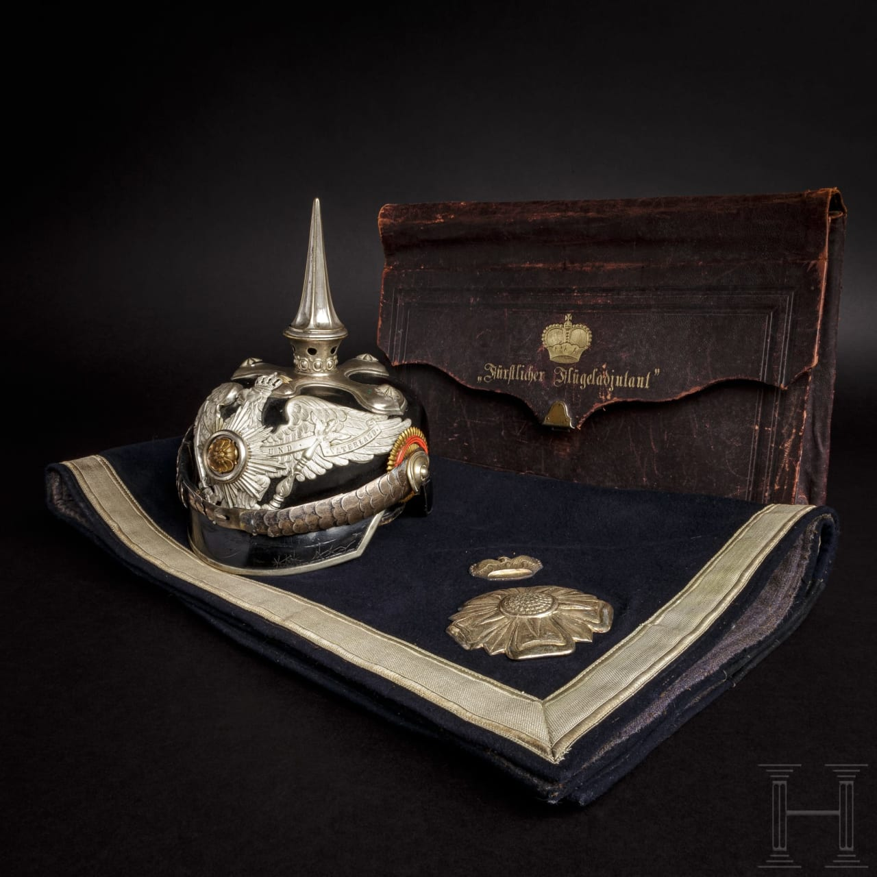 A helmet, a caparison and a dispatch case belonging to the aide-de-camp of Prince of Lippe