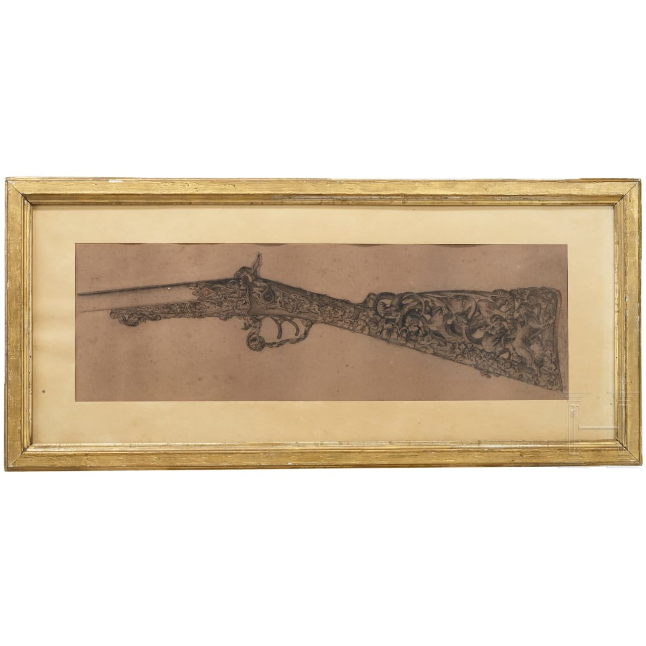 Ferdinand Claudin, a sketch for a luxury gunstock, Paris, dated 1885