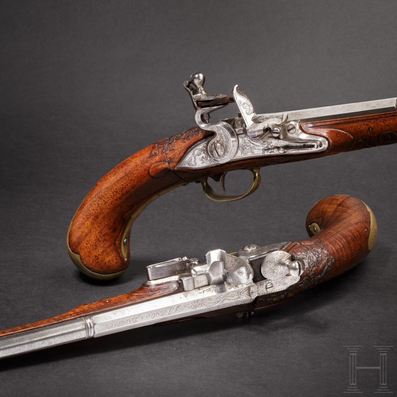 A rare pair of air pistols, designed to resemble a flintlock, Friedrich Jacob Bosler of Darmstadt, circa 1740/50