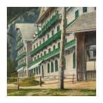 "Oil on canvas, ""Swiss Mountain Lake"""