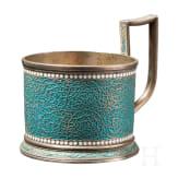 An enamelled silver tea glass holder, Gustav Klingert, Moscow, 1892